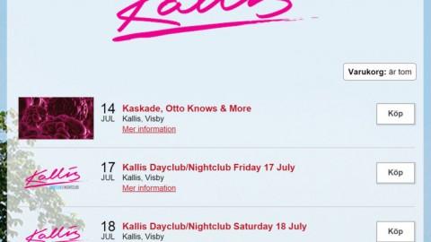 Tickets Kallis Visby 2015